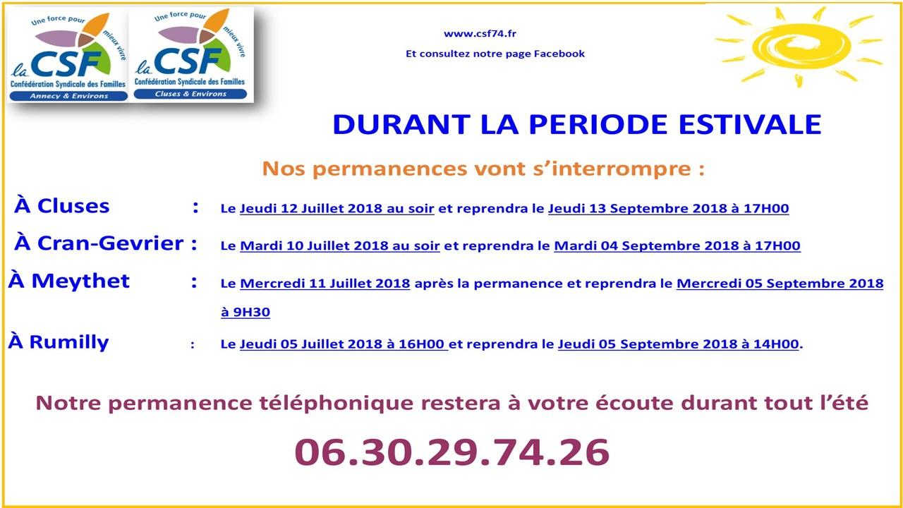 DIAPO pr SITE - FERMETURE PERM ETE 2018